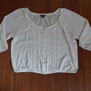 American Eagle crochet accent button down blouse